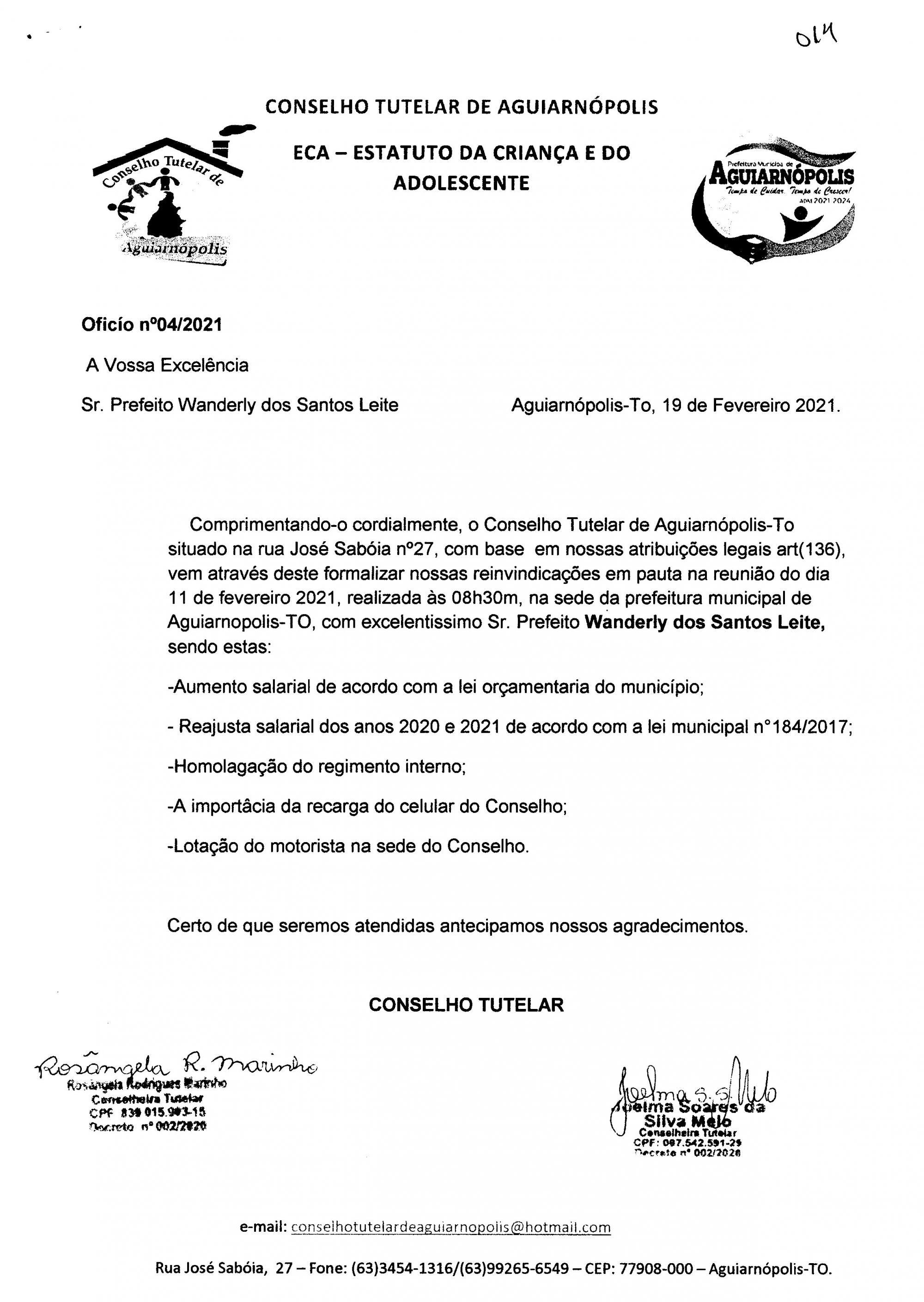 Prefeito autoriza reajuste salarial para Conselho Tutelar
